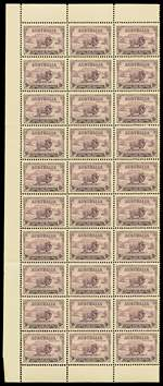 1934 9d Purple Macarthur in MUH well centered block of 30. Faintest crease on 4 units.