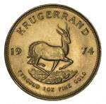 1974 Krugerrand Gold coin aUnc. Contains 33.93 grams of .9170 pure Gold, giving 1.0003 troy oz of actual gold content.