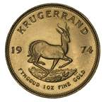 1974 Krugerrand Gold coin Unc. Contains 33.93 grams of .9170 pure Gold, giving 1.0003 troy oz of actual gold content.