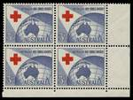 1954 3½d Red Cross lower right full Plate No 4 with dashes corner block of 4 MUH. ACSC 312zm.