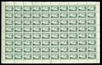 1929 3d Green Airmail Type A in Plate No 1 complete sheet of 80. Minor faults on a small proportion of stamps. Typical mixed centering. Catalogue Value $1,790.00.