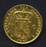 1897 10 Gulden Queen Wilhelmina Jewellers copy 14ct Gold coin with stars on reverse. Weighs 5.94g.