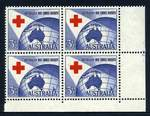1954 3½d Red Cross lower right full Plate No 2 with dashes corner block of 4 MUH and well centered. ACSC 312ze.