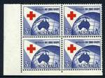 1954 3½d Red Cross lower left full Plate No 3 without dashes corner block of 4 MUH and reasonably centered. ACSC 312zj.