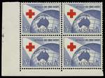 1954 3½d Red Cross lower left full Plate No 4 with dashes corner block of 4 MUH and well centered. ACSC 312zl.