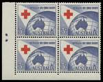 1954 3½d Red Cross lower left two dots Plate dot corner block of 4 MUH and well centered. ACSC 312zp.