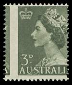 1953 3d Green QEII with perforations misplaced 3mm to the left MUH. ACSC 295bg.