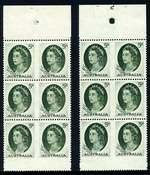 1963 5d Green QEII Plate No 1 and Plate No 2 with dashes blocks of 6 from booklet sheet MUH. ACSC 400za and zb.