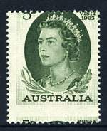 1963 5d Green Royal Visit with perforations misplaced 3mm downwards and slightly to the right. ACSC 392bb.