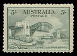 1932 5/- Green Sydney Harbour Bridge MLH and centered to base. A few blunt perfs.