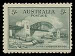 1932 5/- Green Sydney Harbour Bridge MUH and centered to right. Barely noticeable creased corner perf.