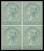 1868-76 1d Green Queen Victoria imperforate and perf 14 Plate Proof blocks of 4 on unwatermarked paper MUH.