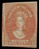 1865 1d Dull Vermillion Chalons Head Imperf with Numeral 1 Wmk MLH with 4 jumbo margins. Sg 28. Catalogue Value £350.00.