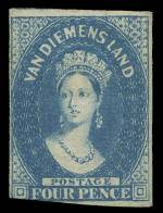 1857 4d Blue Chalons Head imperf with double lined 4 Wmk mint, with large part original gum. 3½ margins, very slightly cut into at lower left. Sg 37. Catalogue Value £450.00.