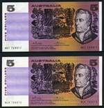 1974 $5.00 Phillips/Wheeler Australia aUnc (2), 1983 $5.00 Johnstone/Stone consecutive pair aUnc and 1985 $5.00 Johnston/Fraser OCR-B serial Unc Banknotes. McDonald catalogue value $465.00.