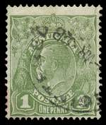1931 1d Green C of A Wmk KGV with Watermark reversed FU with small tear in top right corner. Scarce. ACSC 82aa. Catalogue Value $3,000.00.