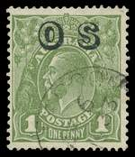 1932 1d Green C of A Wmk KGV O/P OS with Watermark reversed FU. Scarce. ACSC 82(OS)aa. Catalogue Value $2,500.00.
