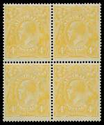 1916 4d Lemon-Yellow KGV in well centered block of 4, lightly hinged on upper units, the lower units MUH.