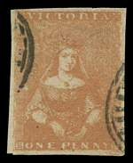 1855 1d Orange-Brown Campbell and Fergusson print Queen Victoria Half Length fine used with 4 good margins. Slight thin. Attractive. Sg 27. Catalogue Value £140.00.