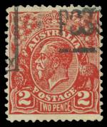 1932 2d Scarlet KGV Postal Forgery fine used. Identified as position No 27 on the printing plate with