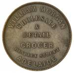 William Morgan, Wholesaler & Retail Grocer, Hindley Street, Adelaide 1d Token EF. Head of Justice between