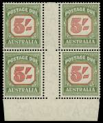 1959 5/- Red and Deep Green Die II C of A Wmk Postage Due No imprint block of 4 MUH. ACSC D142z.