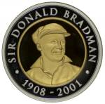 2001 Sir Donald Bradman Tribute Bronze, Silver and Bi-Metal Silver/Gold three-coin proof set, plus 1996 $5.00 Aluminium Bronze and 2001 $5.00 Silver proof coins in presentation cases, with certificates. Bi-Metal coin contains 8 grams of gold.