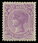 1910 10/- Bright Purple Queen Victoria MLH and well centered. Sg 127a. Catalogue Value £950.00.
