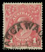 1917 1d Deep Salmon Eosin Single Wmk KGV good used with part Wagga Wagga 4DE17 postmark. 2000 The Sydney Philatelic Research Service certificate signed by Michael Drury. ACSC 71S. Catalogue Value $2,500.00.