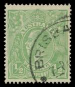 1915 ½d Green Single Wmk KGV fine used with Cracked electro - second state, left wattles to forearm of kangaroo. 2007 Australian Philatelic Expertising certificate signed by Simon Dunkerley. ACSC 63(5)ka. Rare. Catalogue Value $6,000.00.