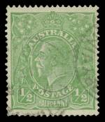 1915 ½d Green Single Wmk KGV fine used with Crack through oval in front of face variety. Light diagonal crease at base. ACSC 63(2)q. Scarce. Catalogue Value $2,500.00.