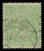 1915 ½d Green Single Wmk KGV fine used with Crack through