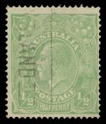 1915 ½d Green Single Wmk KGV fine used with Crack through S.W. corner variety. Short perf at right. ACSC 63(3)o. Scarce. Catalogue Value $2,000.00.