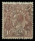 1919 1½d Brown Large Multiple Wmk KGV fine used with Cracked electro through lower portion of shaded oval (C245). ACSC 86(U)t. Scarce. Catalogue Value $1,500.00.