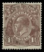 1919 1½d Brown Large Multiple Wmk KGV fine used with Cracked electro vertically through crown (C142). ACSC 86(U)j. Scarce. Catalogue Value $600.00.