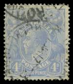 1922 4d Ultramarine Single Wmk KGV good used with very early state of White flaw on King's temple variety. Light crease in lower right corner. The ACSC states approximately 50 used examples have been reported. Scarce. ACSC 112(1)g. Catalogue Value $1,500.00.