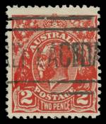 1932 2d Scarlet KGV Postal Forgery fine used. Identified as position No 26 on the printing plate with
