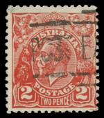 1932 2d Scarlet KGV Postal Forgery fine used. Identified as position No 28 on the printing plate with