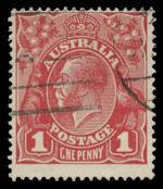 1915 1d Scarlet-Red Single Wmk KGV with