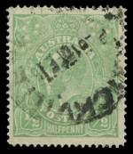 1915 ½d Pale Emerald Single Wmk Single-line perf KGV good used with bent top right corner. Scarce. ACSC 64. Catalogue Value $900.00.