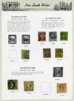 Collection of 346 used stamps with all States represented, including a handy range of imperf issues and highly catalogued items on Seven Seas pages. Noted New South Wales 1850 3d Yellow-Green Sydney View on Bluish to grey wove paper with 4 margins, 1853 8d Dull Yellow Queen Victoria imperf with 4 close margins, 1890 20/- Ultramarine Carrington perf 11 with 20/- NSW in Circle Wmk, Queensland 1880 5/-, 10/- and 20/- Chalons Head, South Australia 1886-96 10/-, 15/-, £1 and 50/- (repaired tear) Postage and Revenue Long Toms, Western Australia 1854 1d Black Swan imperf with 4 margins and 1910 10/- Bright Purple Queen Victoria. Usual variable condition. Very high catalogue value.