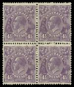 1930 4½d Violet Die II Small Multiple Wmk perf 13½ KGV lightly hinged CTO without gum block of 4. Scarce multiple. ACSC 121.