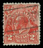 1932 2d Scarlet KGV Postal Forgery fine used. Identified as position No 17 on the printing plate with