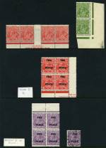 1926 1½d Red Small Multiple Wmk perf 14 KGV Mullett imprint strip of 4 with Void top right corner