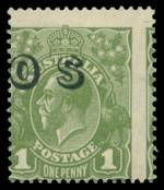 1932 1d Green C of A Wmk KGV O/P OS with vertical perforations misplaced 3mm to the right MUH with light yellowish gum. ACSC 82(OS)b. Catalogue Value $200.00.