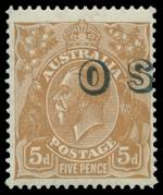 1932 5d Brown C of A Wmk KGV O/P OS with overprint misplaced 5mm to the right MUH with small gum disturbance at lower right. Unlisted in the specialist catalogue.
