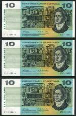 1968 $10.00 Phillips/Randall consecutive run of 6 banknotes aUnc. Serial Nos STC 528663 - STC 528668. Catalogue Value $720.00.