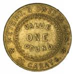 1852 Adelaide Pound Type 2 F, with 5 notches above 22 Carat, as is characteristic of coins struck from later states of the die. Some weakness in strike, mainly affecting the obverse.