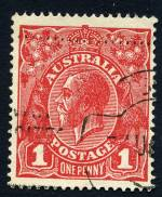 1918 1d Red Die III KGV fine used with Thinned