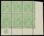 1915 ½d Green Single Wmk KGV JBC monogram lower right corner block of 6 from Electro 5, lightly hinged on top centre unit and selvedge, remaining units MUH. ACSC 63(5)zb. Catalogue Value as strip of 3 $900.00.